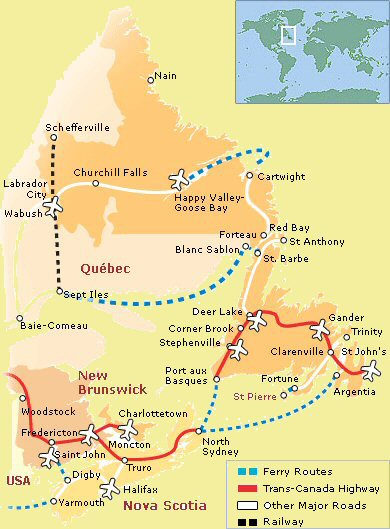 Map From Boston To St John New Brunswick Canada Welcome to Newfoundland :: Getting there